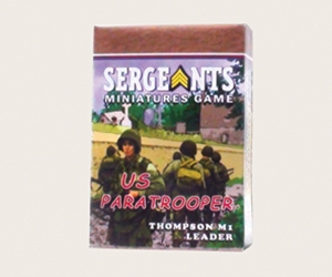 Sergeants Miniatures Game Soldiers Each US Paratrooper M1A1 Thompson armed leader comes as a private soldier, junior NCO and senior sergeant.